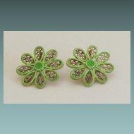 Coro Vintage Gold Tone Light Green Enamel Daisy Earrings