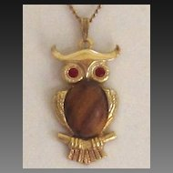 Vintage Owl Pendant Chain Necklace,Wood Body, Red Eyes