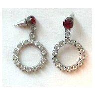 Rhinestone Vintage Silver Tone Circle Pierced Earrings