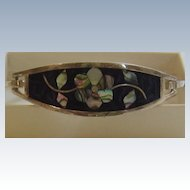 Vintage Abalone Shell Alpaca Silver Hinged bracelet