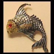 Large Vintage Enamel Fish Brooch with Jeweled Eye and Rhinestone