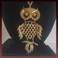 Vintage Gold Tone Owl Necklace