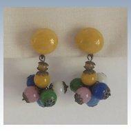 Italian 1930s Glass Bead Dangle Earrings