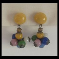 Italian 1930s Glass Bead Dangle Earrings