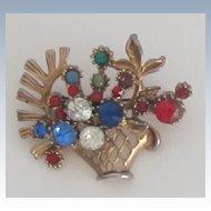 Crystal Floral Basket Vintage Brooch