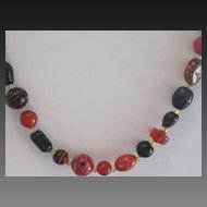 Amber,Root Beer, Art Glass Vintage Necklace