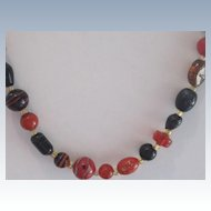 Amber,Root Beer, Art Glass Vintage Necklace