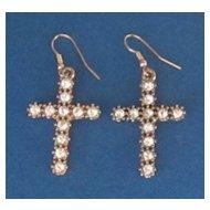 Vintage Rhinestone, Gold Tone  Cross Earrings