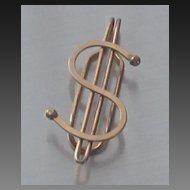 Vintage Gold Overlay Finish Dollar Sign Money Clip
