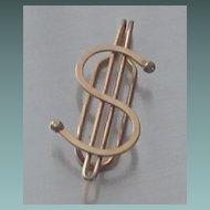 Vintage Gold Overlay Finish Dollar Sign Money Clip