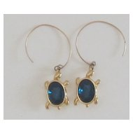 Charming Vintage Blue Glass Turtle Pierced Earrings