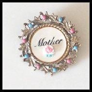 "Darling Vintage Mother of Pearl  ""Mother"" Brooch"