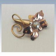 Enchanting Vintage 12 K GF Trumpet Flower Brooch/Signed