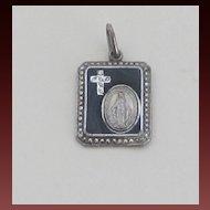 Marcasite,Onyx, Sterling Vintage Blessed Mother Medal