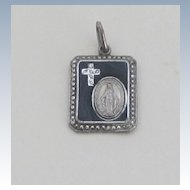 Marcasite,Onyx, Sterling Vintage Blessed Mother Medal