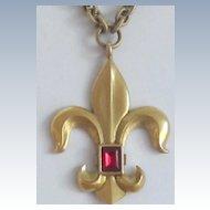 Vintage, Necklace,Long Gold Tone Heavy Link Chain Fleur di Lys Pendant