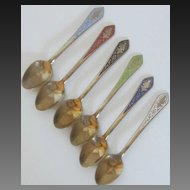 Vintage Asian Set of Six Demitasse Spoons