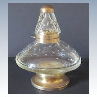 Vintage Blown Bubble Glass and Brass Inkwell