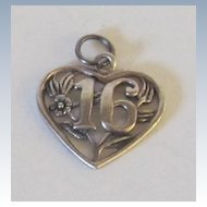"""Sterling Silver """"16"""" Heart Charm"""