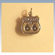 """Vintage Sterling Silver""""Rt 66"""" Charm"""