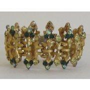 Vintage Coro Gold Tone Rhinestone Wide Bracelet