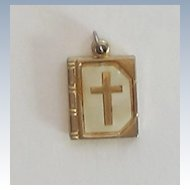 """Vintage Mother OF Pearl """"The Lord's Prayer"""" Slide Charm/Pendant"""