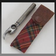 Vintage Bottle Opener and Plaid Leather Case