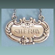 Vintage Sterling Silver SHERRY Tag