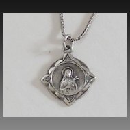 Sterling Silver Religious St. Theresa Medal and Chain
