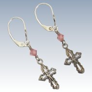 Vintage Sterling Silver Cross Earrings