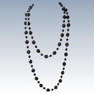 Double Strand Black Bead Plastic Necklace
