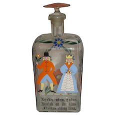 c1800 Stiegel Type Blown Glass Bride's Bottle with Original Stopper
