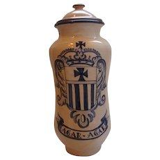 19th C Delft Pottery Albarello Faience Apothecary Jar- Agar