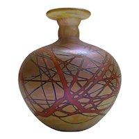 Vintage Chris Heilman Iridescent Blown Art Glass Bud Vase d1978