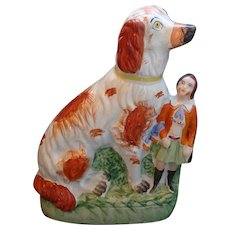 Large Unusual Antique Staffordshire Pottery Dog with Boy