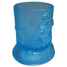EAPG Blue Glass 3 Monkey Toothpick Holder U.S. Glass C1904