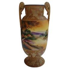 Exceptional Nippon Jasperware Moriage Scenic Vase -Mark 47