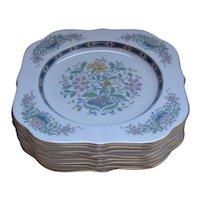 8 Vintage Lenox China MYSTIC Square Salad Plates- MINT!