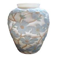 Large Phoenix Consolidated Glass Satin Blue Dogwood Vase