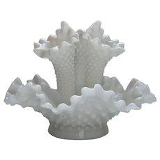 Vintage Fenton Milk Glass Hobnail Epergne Ruffle Bowl