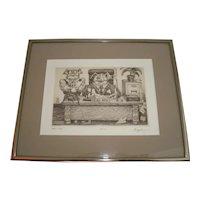 """Dale Bradley """"Head Hog"""" Signed & Numbered Framed Etching d1984"""