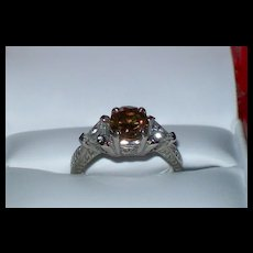 "Cognac ""chocolate"" Diamond (1.25 carat) and White Zircon Art Deco Ring"