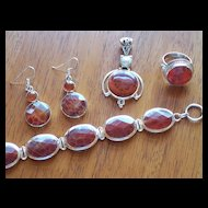 Fire Agate and Silver Suite ~ Earrings, Ring, Bracelet and Pendant