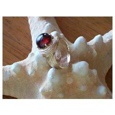 Garnet Cabochon and 10 KT Gold Ring