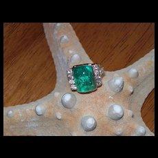 Retro Period Style Emerald and Diamond Ring