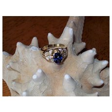 Ceylon Sapphire and Diamond Ring in 18KT by JB Star ~~Price REDUCED!