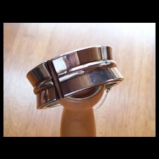 Vintage Modernistic ~ Sterling Silver Wide Cuff Bangle