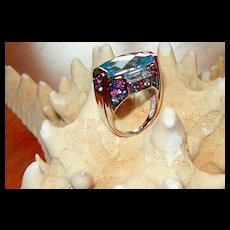 "Cushion Cut Swiss Blue Topaz and Multi-Stone ""Carnival Ring"" ~ 14 Karat White Gold"