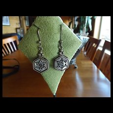 Mother of Pearl and Jet Egyptian Earrings in Sterling Silver