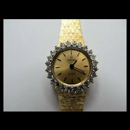 Vintage Solid 14 Karat Yellow Gold & Diamond Concord Ladies Watch